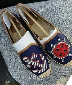 TORY BURCH NIB MARITIME Flat Espadrille NAVY SEA Color Shoes Womens SIZE 7
