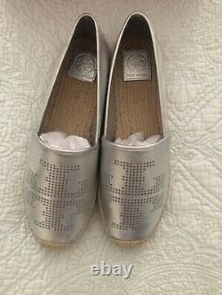 TORY BURCH PERFORATED LOGO ESPADRILLE SHOES Silver LEATHER Women Size 10 New
