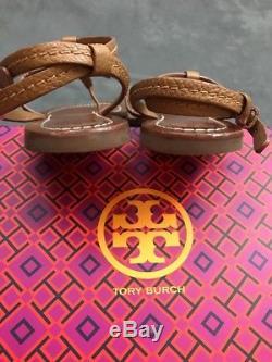 TORY BURCH Phoebe Chandler Flat Thong Sandal Tan & Gold Sz 8 Miller #L13