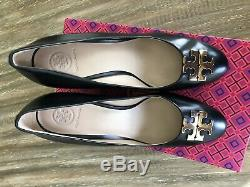 TORY BURCH Raleigh Wedge Pump Black Leather Size 8 M
