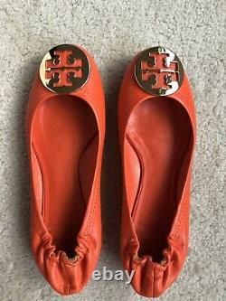 TORY BURCH Reva Flats Ballet Shoes Tiger Lily Gold Orange 8.5 Worn Twice