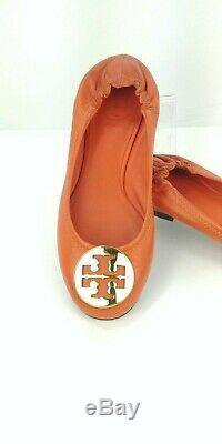 TORY BURCH Reva Orange Ballet Flats Slip On Shoes Size 5 1/2 M Gold Medallion