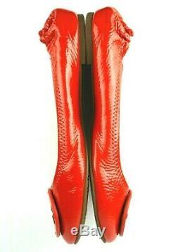 TORY BURCH Reva Orange patent leather ballet flats shoes, size 10.5 US
