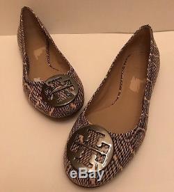 TORY BURCH'Reva' Snake Embossed Leather Ballet Flat (Women) Size 9M