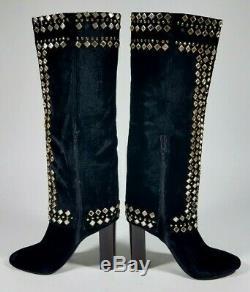 TORY BURCH Runway Croacia Black Velvet Studded Moroccan Boots