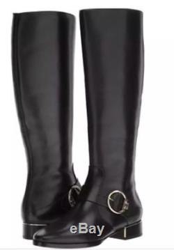TORY BURCH SOFIA TALL BLACK LEATHER RIDING BOOT W LOGO Women's Boot SZ 6.5 $498