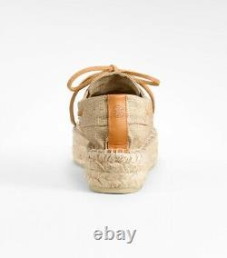 TORY BURCH Silver Metallic Blanton Espadrilles Shoes Sz 7 $175 NEW
