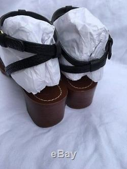 TORY BURCH T-Logo Chandler 45mm Tumbled Black Leather Sandal Size 9.5 NIB