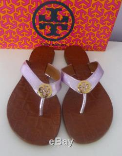 TORY BURCH THORA Flip Flop Thong Sandals Metallic Rosa Leather Gold Size 8 New