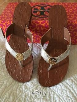 TORY BURCH THORA Flip Flop Thong Sandals Silver Leather Gold Size 9 New