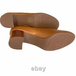 TORY BURCH Tan Mestico CHELSEA 50mm Mid Heels Pumps Shoes Gold Logo Size 10.5