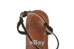 TORY BURCH Thong Sandals 7 Black Blue Strap Flat Leather Gold Logo Shoes