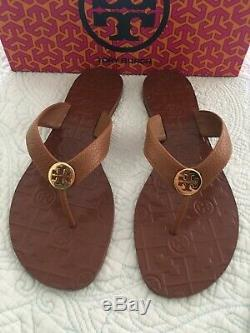 TORY BURCH Thora Royal Tan GOLD LOGO LEATHER Sandal Flip Flop Size 9 New