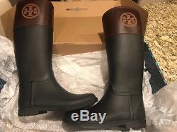 TORY BURCH Woman Classic Rain Boots Black/Almond Size 8