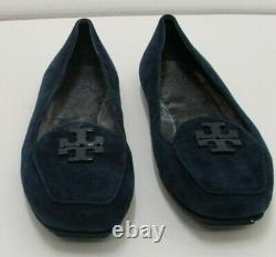 TORY BURCH Women Blue Suede Shoes, Slip On Flats Size 9.5