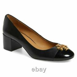 TORY BURCH Women's EVERLY Cap Toe Pump Shoes Leather Sz 4.5 M Perfect Black