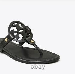 TORY BURCH Womens 8.5 Miller Medallion Black Leather Flat Thong Sandals Shoes