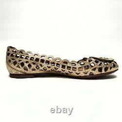 TORY BURCH Womens Gold Special Edition Reva Leather Ballet Flats Shoes Size 6M