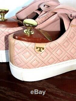 TORY BURSH Mario Leather Quilted Pink Sneakers Lace Up Shoes SZ 8 M