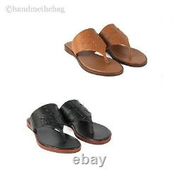 Tory Burch (48275) Jamie Calf Leather Full Logo Thong Slip On Sandals Shoes