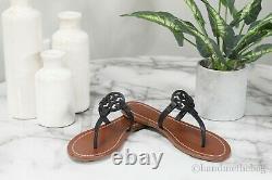 Tory Burch 57075 Gabriel US Size 7 Black Flat Thong Vegan Leather Sandal Shoes