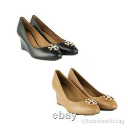 Tory Burch (60915) Claire Calf Leather 65MM Closed Toe Wedge Slip On Heel Shoes