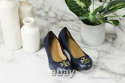 Tory Burch 61551 Claire Nappa Leather US Size 6 Elastic Slip On Ballet Flat Shoe