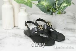 Tory Burch (61768) Claire Vegan Leather Perfect Black Flat Thong Sandal Shoes