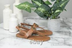 Tory Burch (61768) Claire Vegan Leather Royal Tan Flat Thong Buckle Sandal Shoes