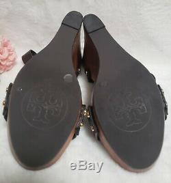 Tory Burch 7.5 Beckett Brown Leather Wood Wedge Sandal Shoes Nice