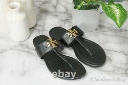 Tory Burch (73854) Everly Black Leather Backless Flat Slip On Thong Sandal Shoes