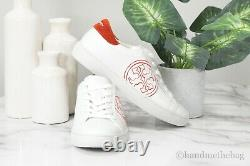 Tory Burch (74099) T-Logo Leather Suede White & Orange Sneaker Trainer Shoes