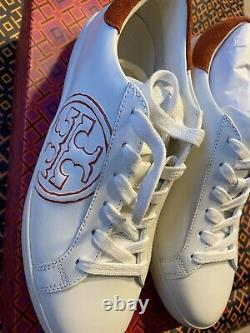 Tory Burch (74099) T-Logo Leather Suede White & Orange Sneaker Trainer Shoes 8