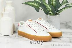 Tory Burch (75877) Olive Gum Sole Leather White/Brilliant Red Court Sneaker Shoe