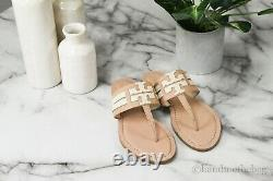 Tory Burch (76027) Leigh Tumbled Cream Calf Leather Flat Thong Sandals Shoes