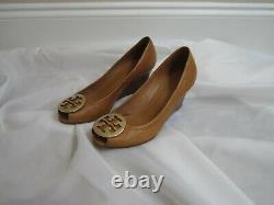 Tory Burch 8 Sally 2 Peep Toe Wedge Gold Logo Shoes