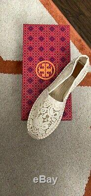 Tory Burch ABBE Espadrille Shoes Flats Size 8.5 White Crochet / Herringbone