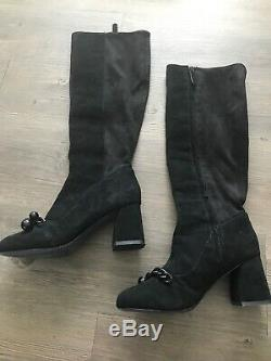Tory Burch Addison Women's Black Suede Heeled Ankle Boots Bootie Shoe Size 6