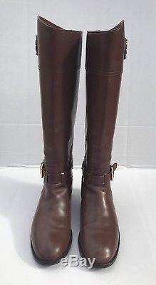 Tory Burch'Adeline' Almond Brown Leather Boots Women's Size 10 M