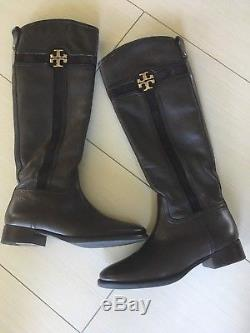 Tory Burch Alaina 30mm Coconut Brown Tumbled Leather Split Suede Riding Boots 8