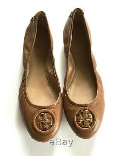 Tory Burch Allie Ballet Flats Wrapped Leather Logo Royal Tan Size 7 Shoes New