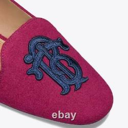 Tory Burch Antonia Monogram Loafer Ballet Flats Ballerina Shoe Burgundy Blue 7.5