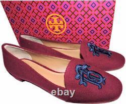 Tory Burch Antonia Monogram Loafer Ballet Flats Ballerina Shoes Burgundy Blue 8
