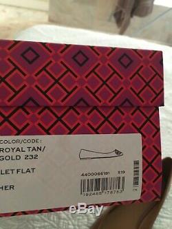 Tory Burch BENTON BALLET FLAT SHOE GOLD LOGO Royal Tan Leather Size 9 New