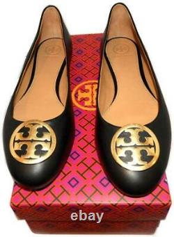 Tory Burch BENTON Flats Reva Ballerina Gold Logo Ballet Shoes 7.5 Black Leather
