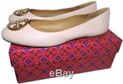 Tory Burch BENTON Reva Ballerina Flats Gold Logo Ballet Shoe 6 Pink Leather