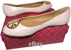 Tory Burch BENTON Reva Ballerina Flats Gold Logo Ballet Shoe 8 Pink Leather