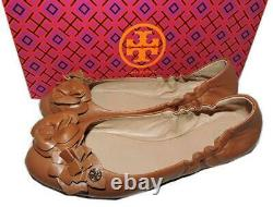 Tory Burch BLOSSOM Ballerina Flats Brown Leather Ballet Shoe Gold Logo Size 7.5
