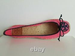 Tory Burch Ballet Espadrille Canvas Embroidered Logo Flats Us 10 I Love Shoes