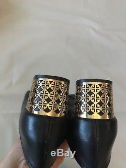Tory Burch Bea Leather Pumps Dark Navy Gold Plated Heel Womens Size 10